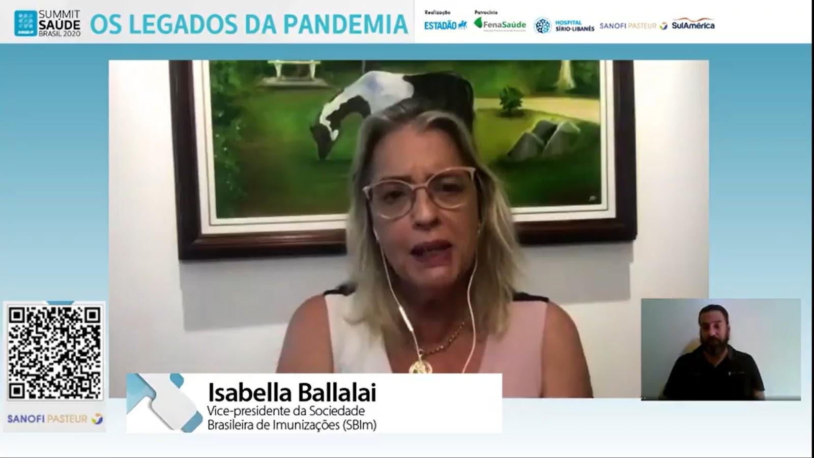 """""""Mais de 80% dos brasileiros dizem que querem tomar vacina da covid-19 quando estiver mais disponível"""", diz Isabella Ballalai. (Fonte: Summit Saúde Brasil 2020/Reprodução)"""