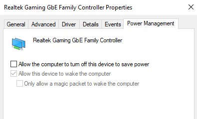 untick Allow the computer to turn off this device to save power