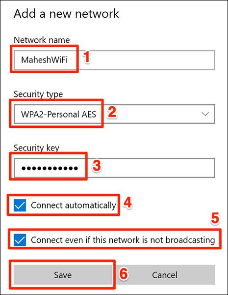 nhấp vào trường Security keys và nhập mật khẩu mạng của bạn