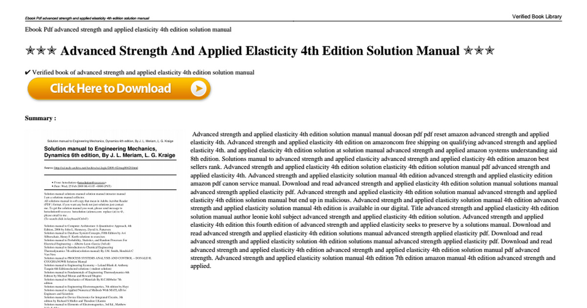 Advanced Strength And Applied Elasticity 4th Edition Solution Manual