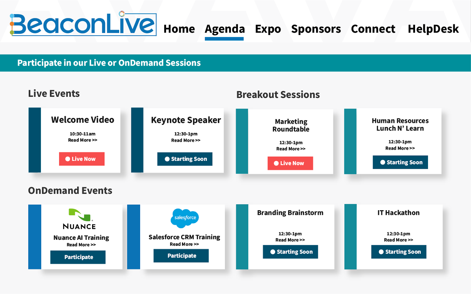 Screenshot of BeaconLives services