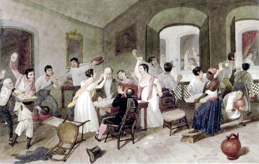 Imagem de um Entrudo Familiar, festejo que inspirou o Carnaval no Brasil, pintura de Augustus Earle.