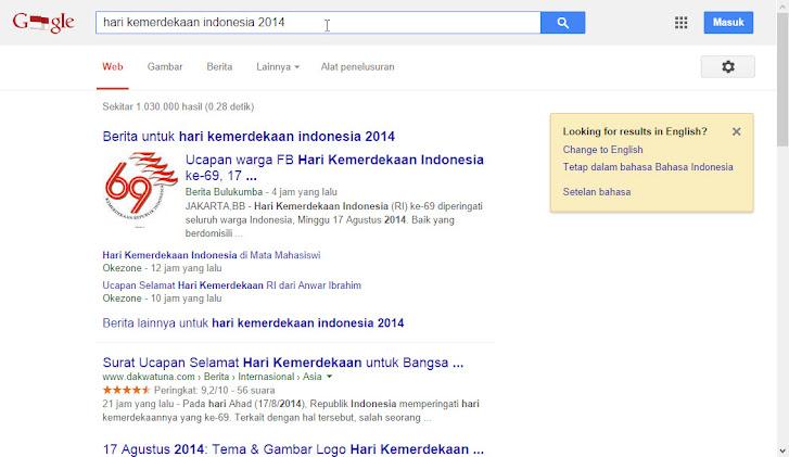 Google Indonesia dan 17 Agustus 2014: halaman sekunder