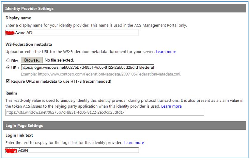 Identity Provider Settings