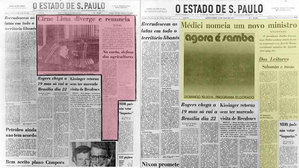 Imagem da capa do jornal o Estado de S. Paulo com destaque para a censura que sofreu durante a Ditadura Militar.