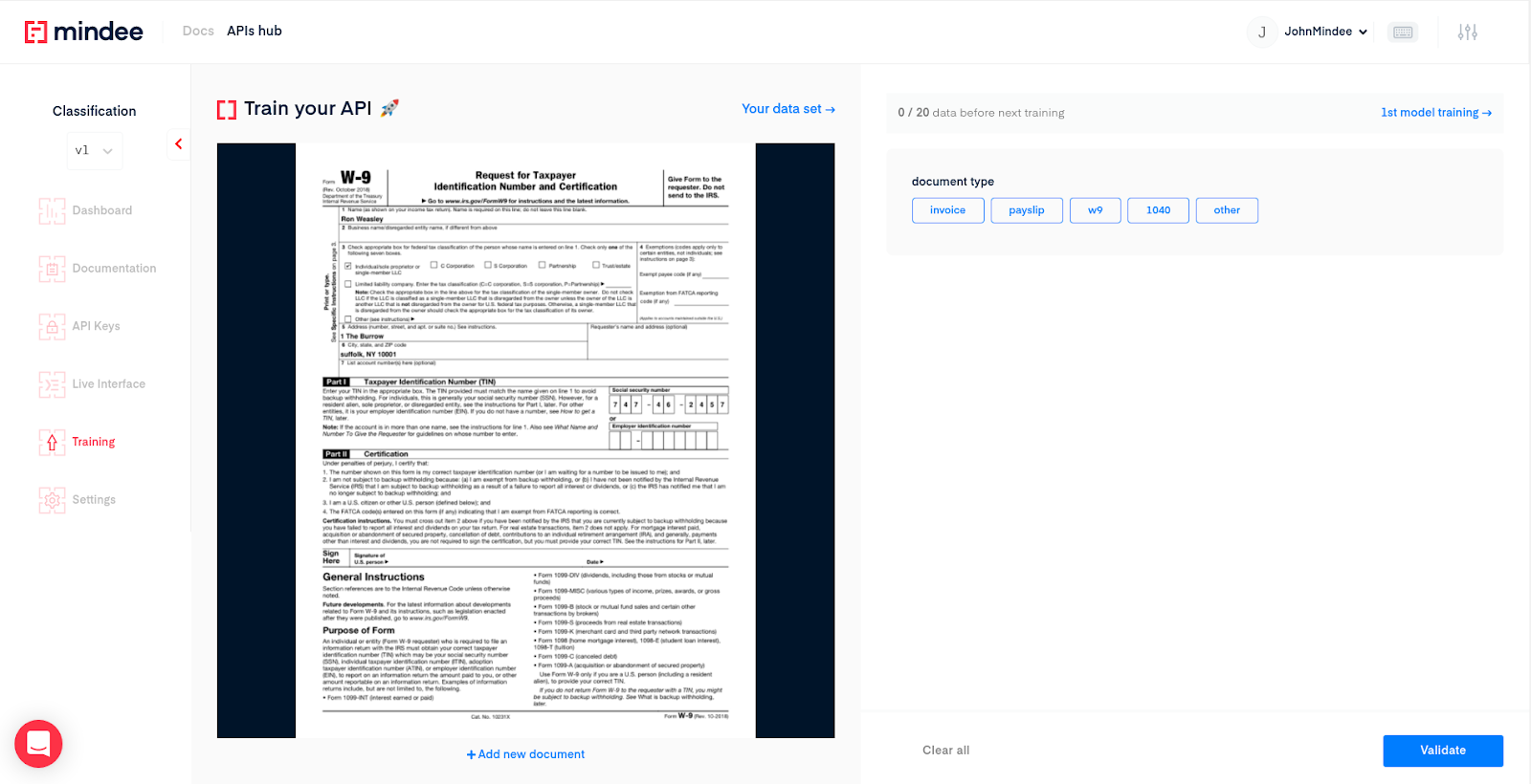 Document classification API annotation