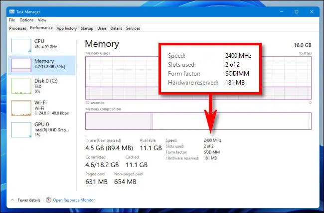 Kiểm tra tốc độ và loại RAM trên Windows 11