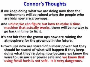 Chart 5.  Thoughts of 11-year-old grandson on climate change and energy.