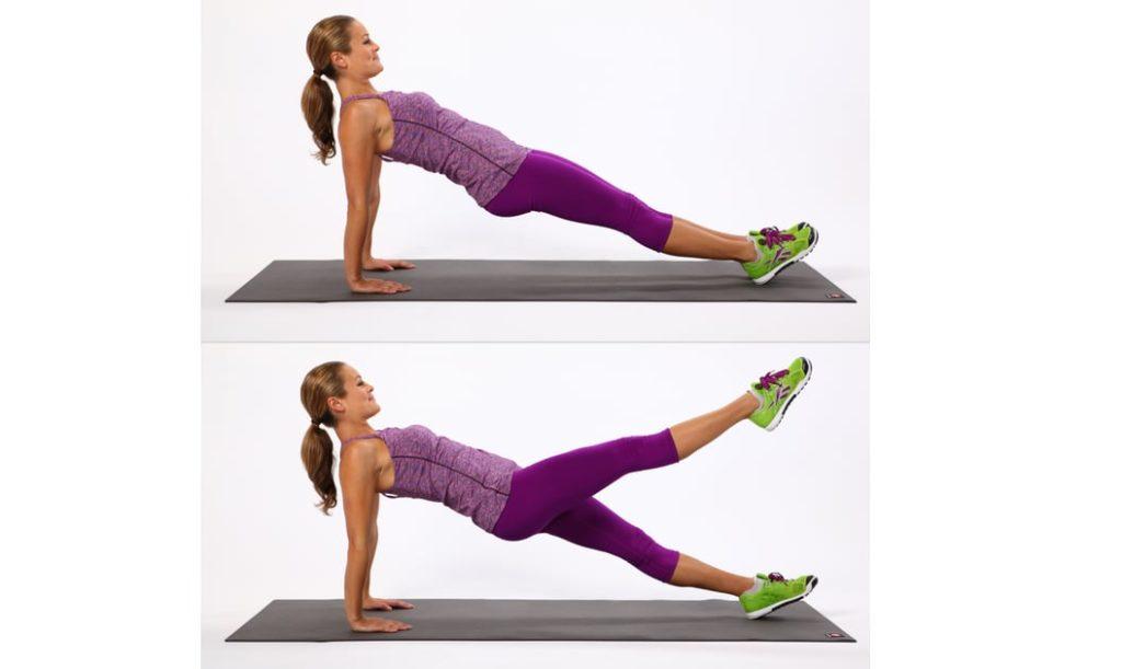 plank đúng cách - ngược nâng chân