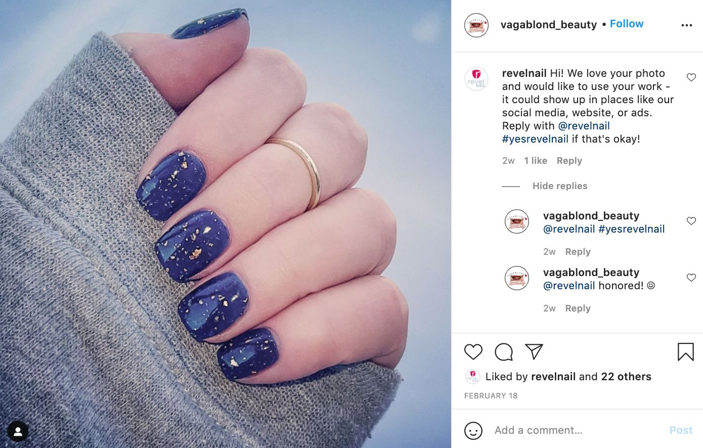 woman's Instagram photo of nail art