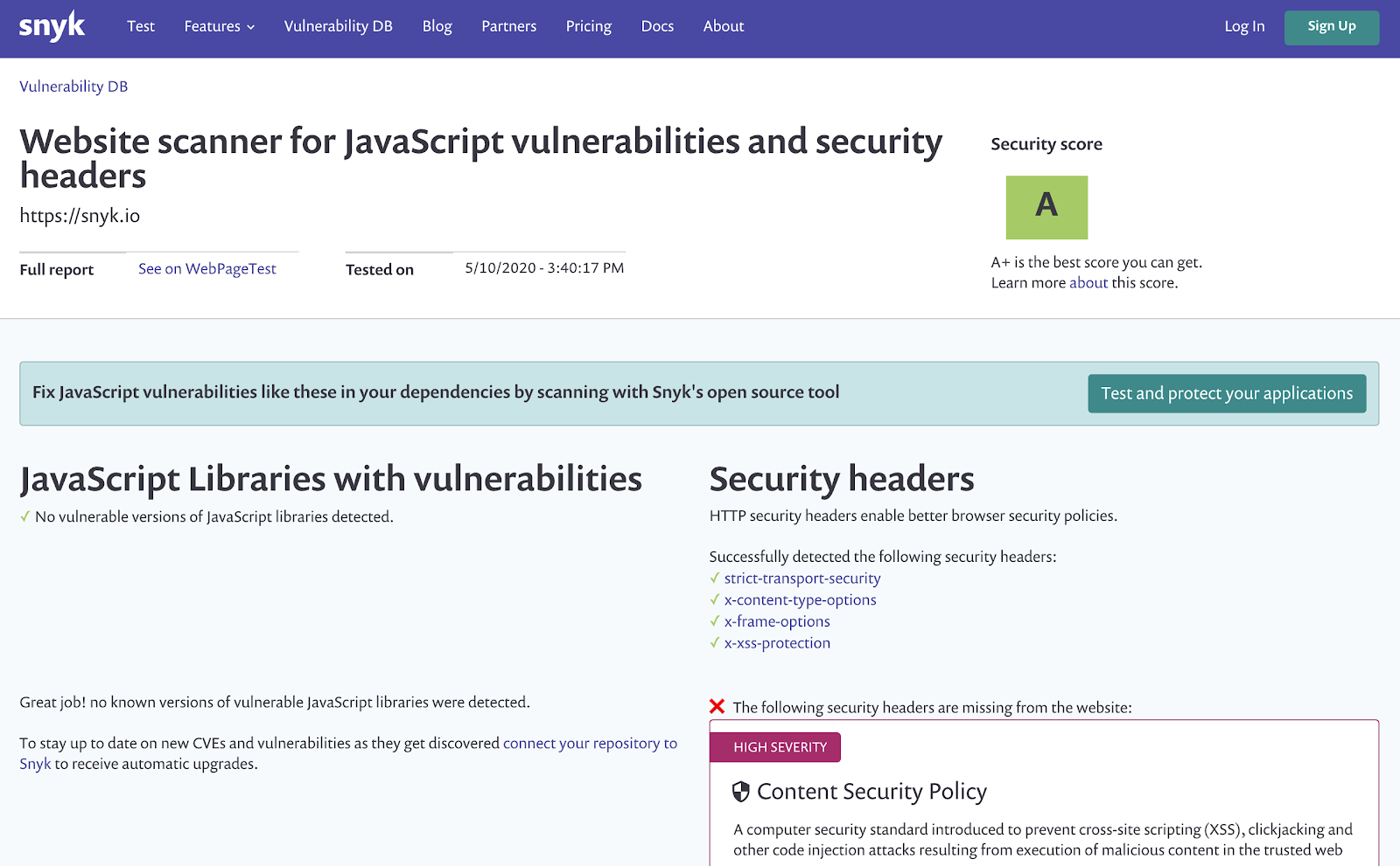 Test website security with WebPageTest integration and Snyk for security insights