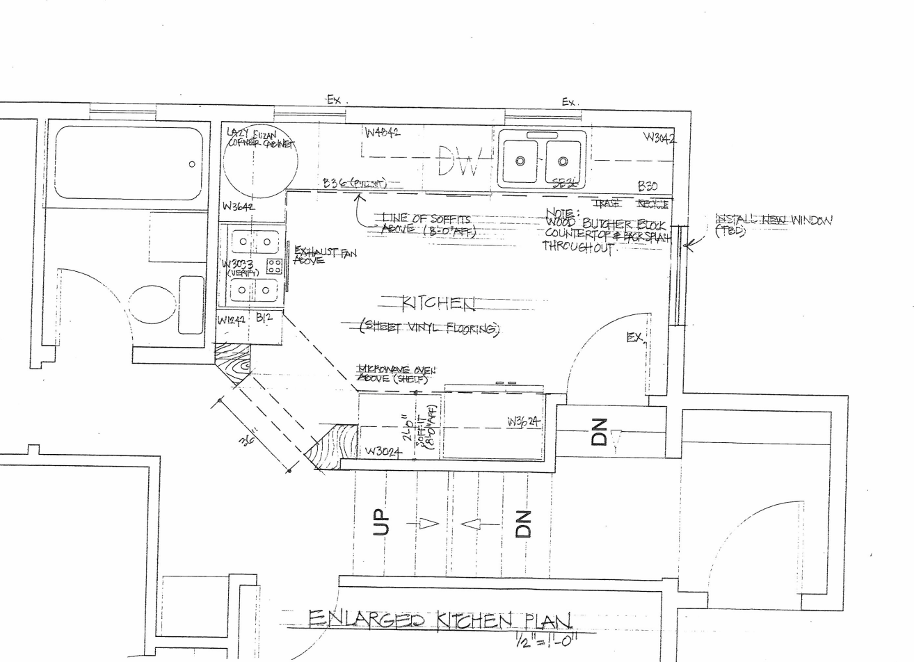 Example of a structural plan. Notice how a set of instructions was added to this plan. This process is called red-lining. For this plan to be official it would need a licensed professional engineer's stamp and signature.