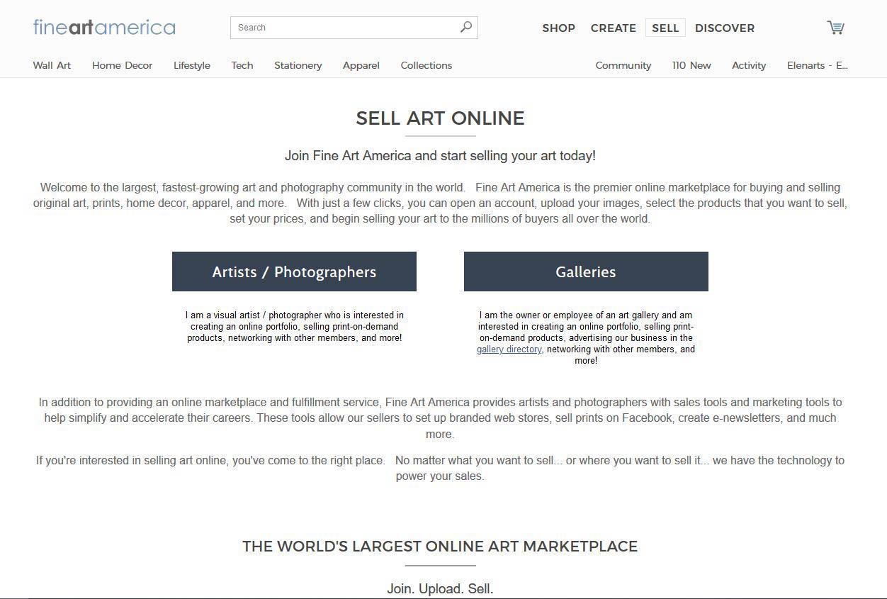 Page d'inscription sur Fine Art America | Vendre ses photos en ligne