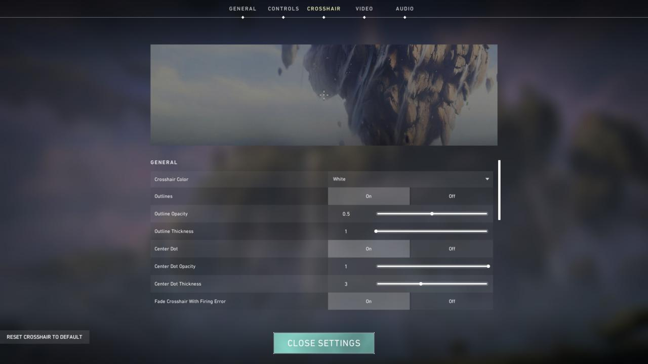 general overview Valorant crosshair settings