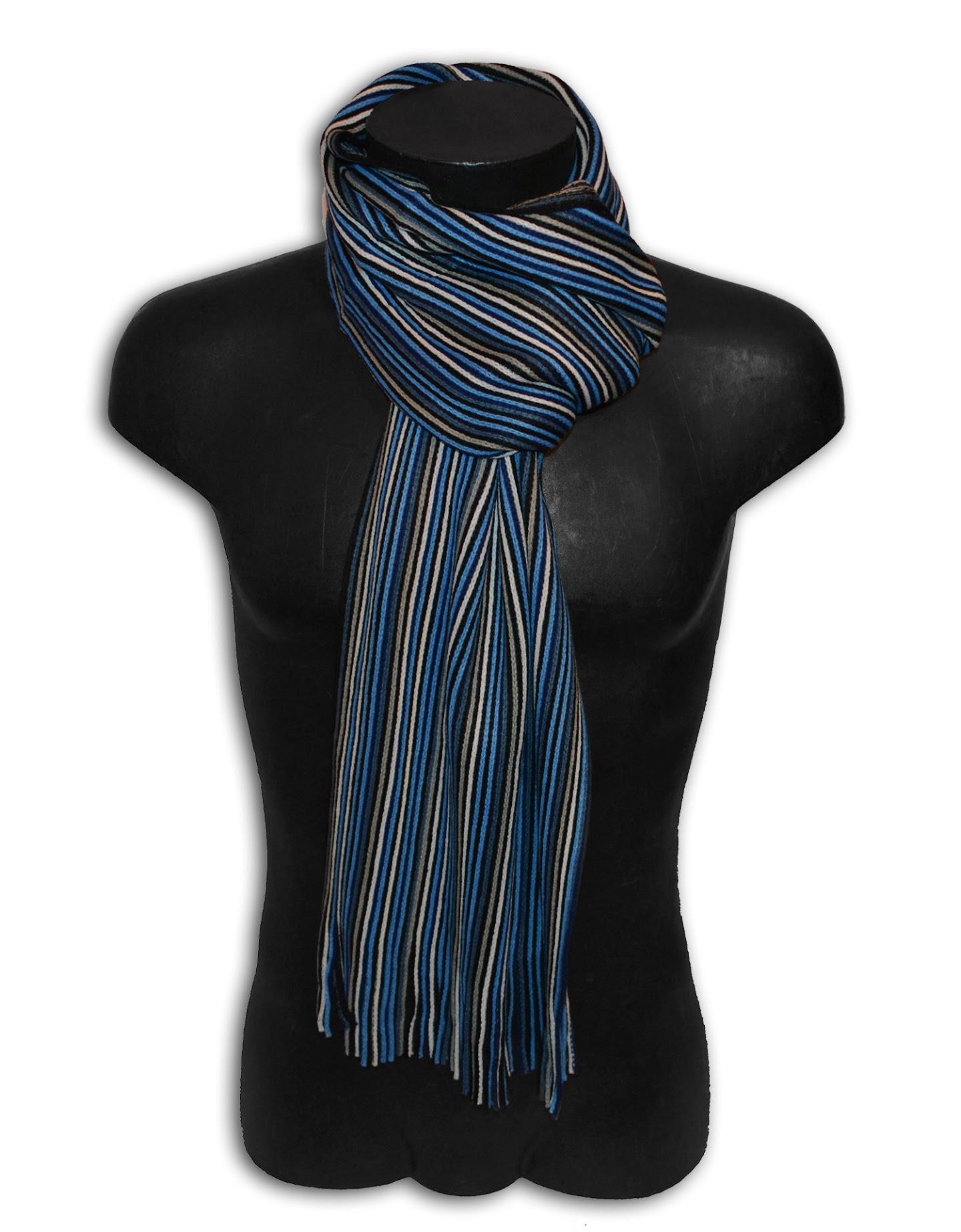 pashmina schal mann frau streifen wei blau blau schwarz grau s ebay. Black Bedroom Furniture Sets. Home Design Ideas