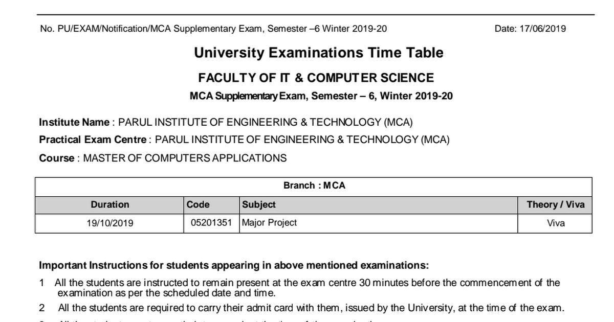 Practical Exam Schedule_MCA Supplementary Exam_Semester_6_Winter