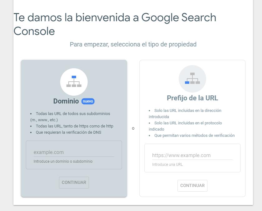 Primera pantalla a Google Search Console