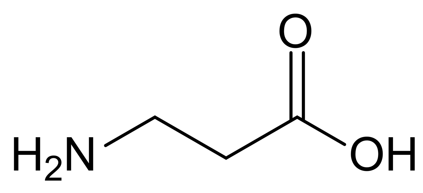 Chemical structure of beta-alanine.