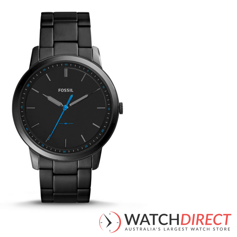Fossil The Minimalist Black Satin Dial Men's Watch.