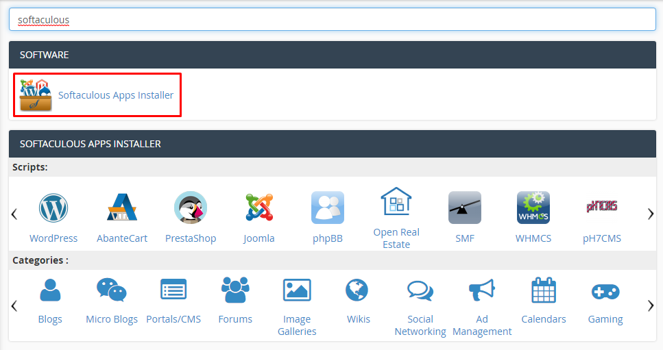 Softaculous Apps Installer di cPanel