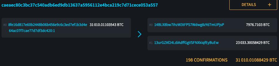 Transação de bitcoin no explorador de blocos da blockstream