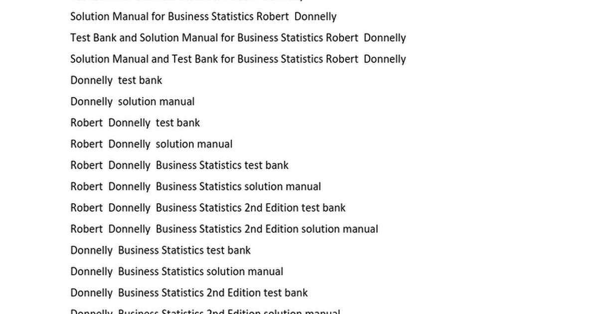 Test Bank Solution Manual Business Statistics Donnelly 2nd Second ...