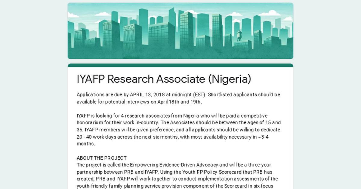 IYAFP Research Associate (Nigeria)