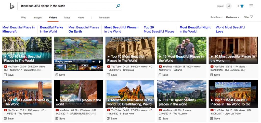 TÌm kiếm video bằng Bing