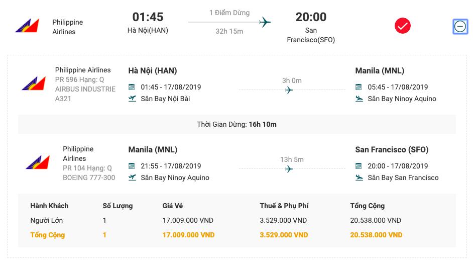 Vé máy bay từ Hà Nội đi San Francisco của Philippine Airlines.