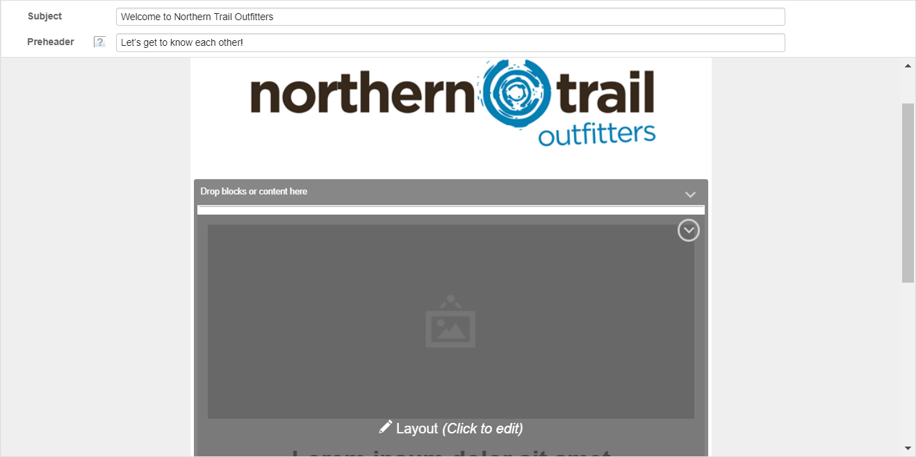 Capture d'écran montrant le bloc de contenu avec son état modifié en Mise en page (cliquez pour modifier).