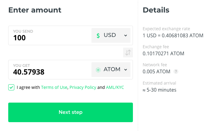 Buy ATOM at Changelly