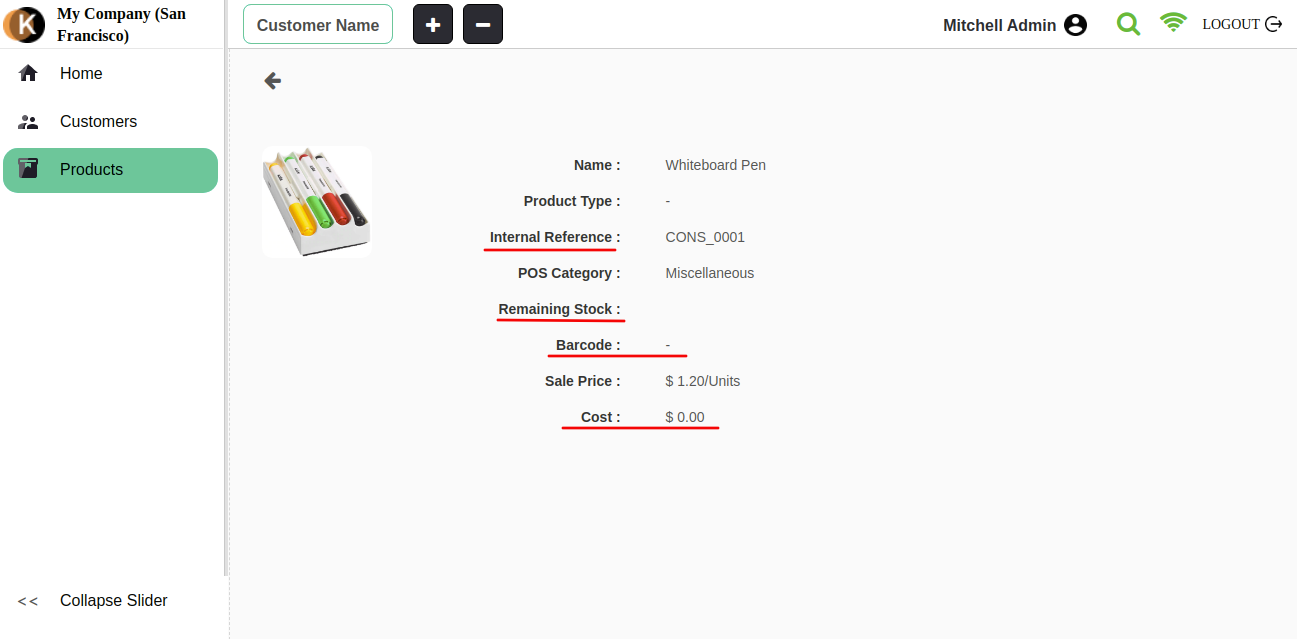 Products detailed information in POS Divine Theme.