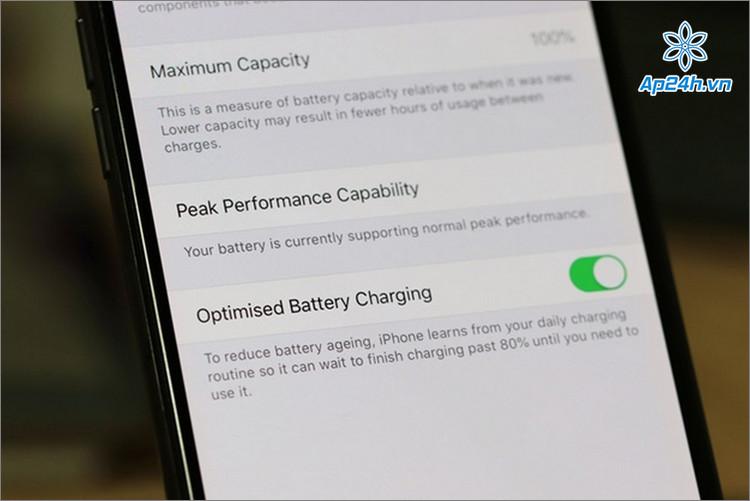 Optimised Battery Charging giúp tối ưu khi sạc pina