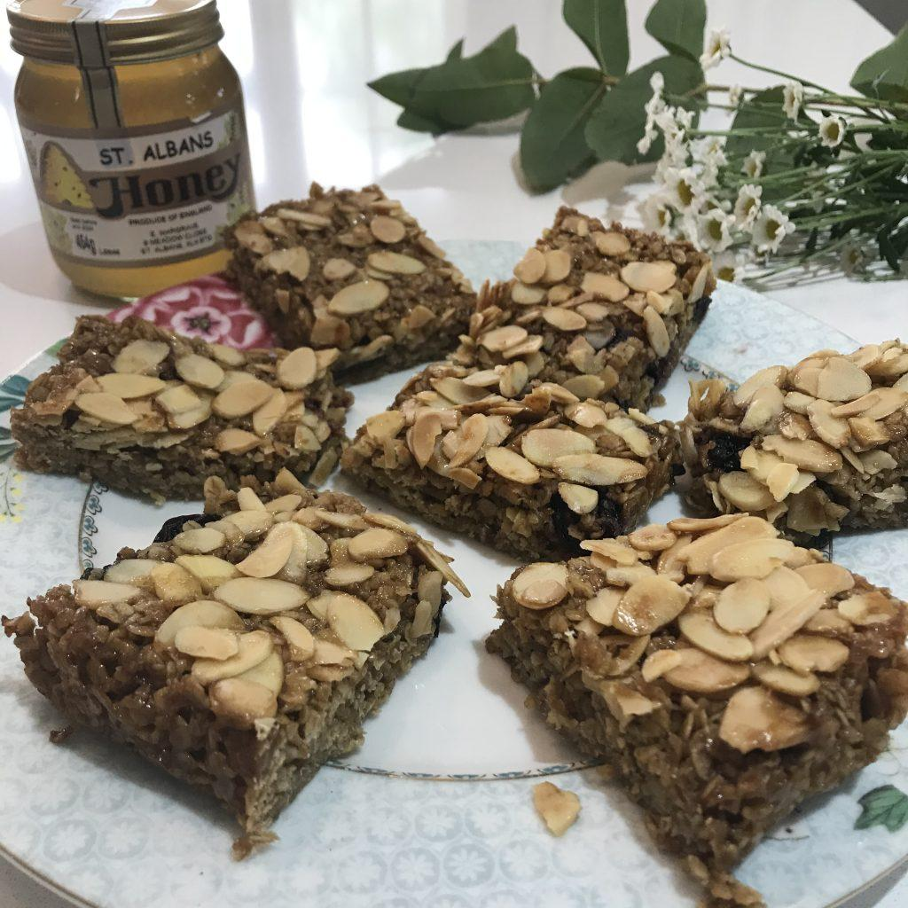 Cherry & Almond Honey Flapjacks - Dizzy Bee Kitchen and Tommy and Lottie