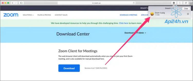 Download Zoom tren Macbook