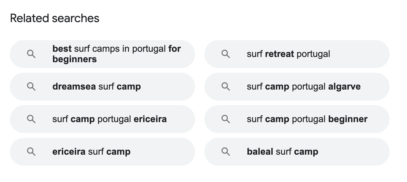 Best surf camps in Portugal related searches screenshot