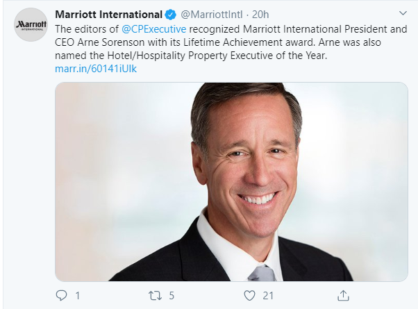 Social media post ideas – Marriott International informs customers about the brand's recent awards and achievements.