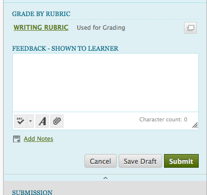 screenshot of grade by rubric