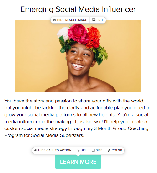 quiz result for emerging social media influencer