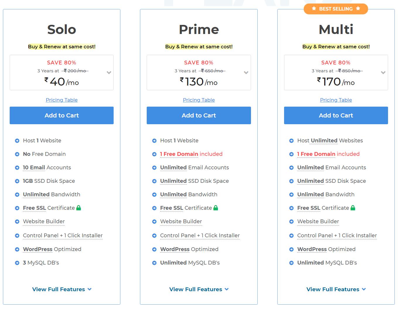 MilesWeb WordPress Hosting Plans Pricing
