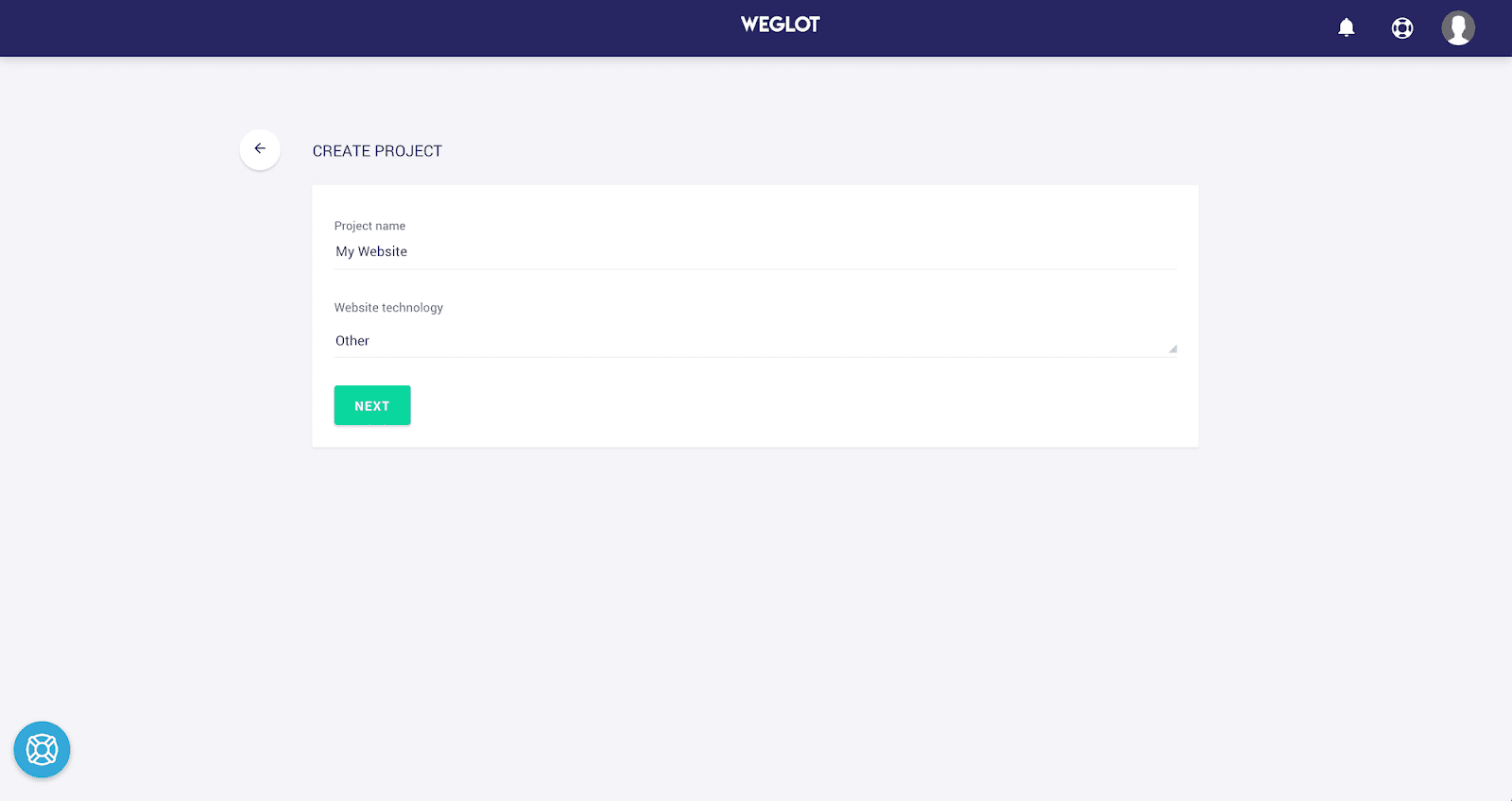 weglot project creation page