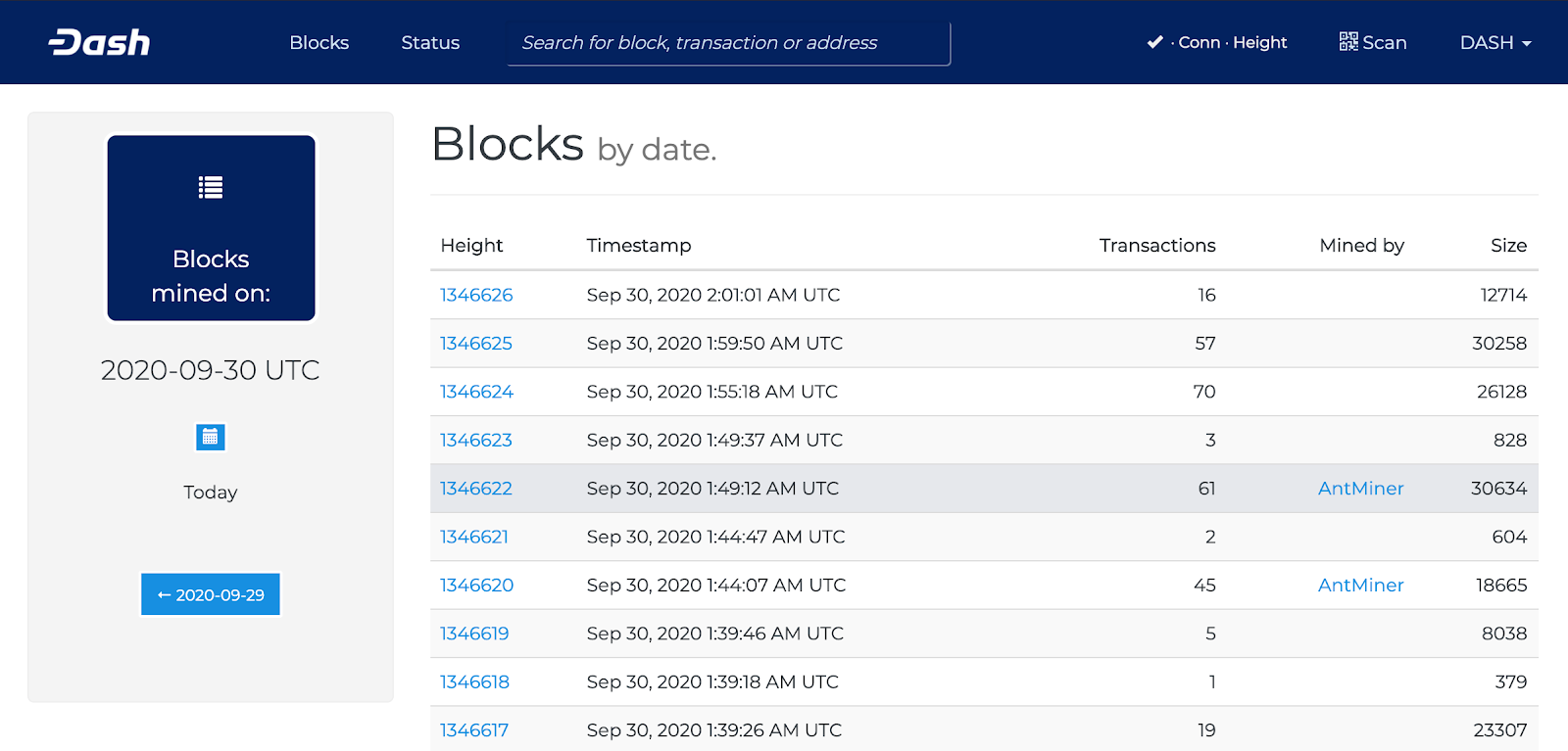 Dash block explorer showing the lastest transactions.