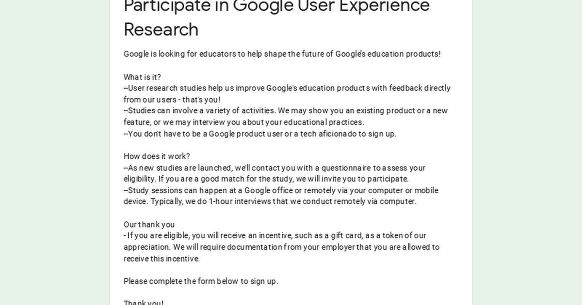 Participate in Google User Experience Research
