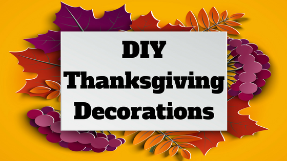 Text DIY Thanksgiving Directions in a box placed over a background of colorful cutout fall leaves