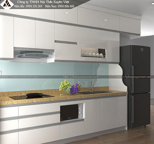 Mẫu tủ bếp đẹp bằng nhựa hình 8
