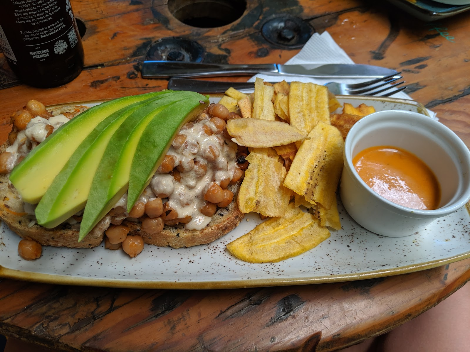 Chickpea entree at Ikaro Café in Santa Marta, Colombia