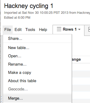Merging in Google Fusion Tables