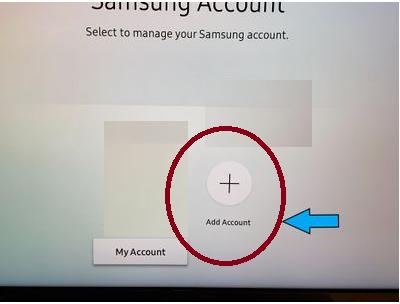 Add Account to fix Samsung TV Error Code 189