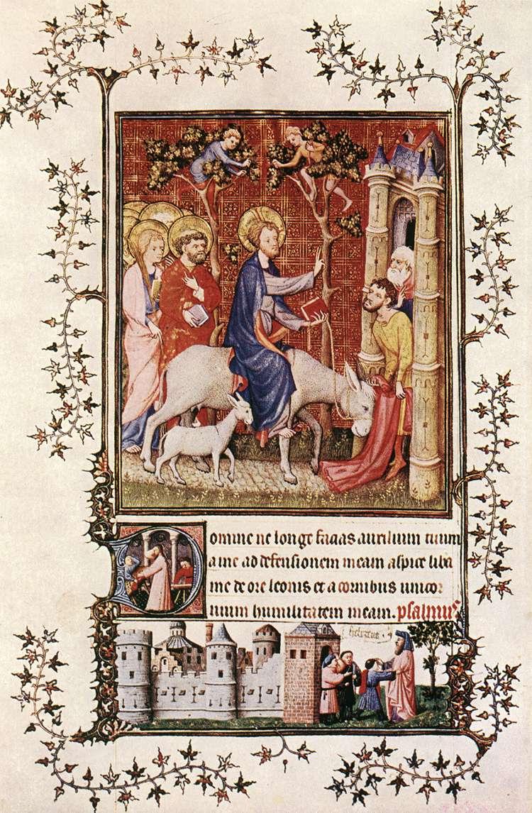 Netherlandish Miniaturist, Entry into Jerusalem, Très Belles Heures de Notre Dame de Jean de Berry, Museo Civico d'Arte Antica, Palazzo Madama, Turin, 1409.jpg