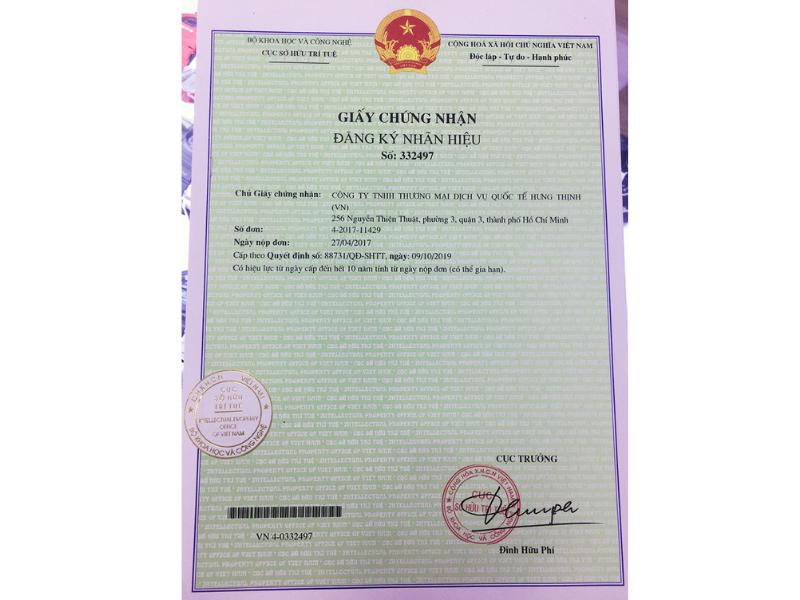 Chứng nhận của Cục sở hữu trí tuệ Việt Nam đối với nhãn hiệu đồng hồ Hưng Thịnh